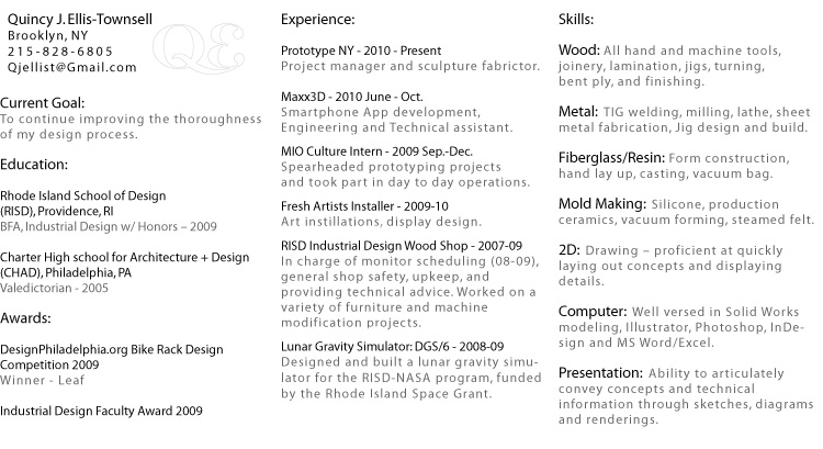 Quincy Ellis | Industrial Design | Resume.  Industrial Designer Resume